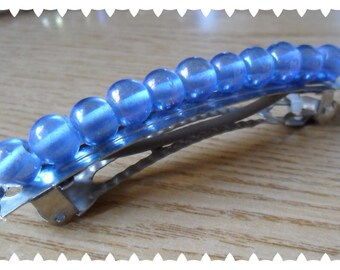 Spring hair with blue transparent beads