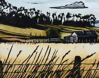 Linocut Print, Hand Painted - Tasmanian Landscape - Shelly Beach Road