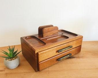 Vintage Solid Wood Dresser Valet / Organizer - Mid Century Modern - Jewellery Box - Desk Organizer - Chip Box - Walnut