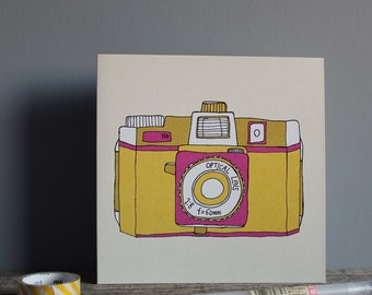 Holga Camera Greetings Card - Yellow Camera - Retro Camera Card - Holga Camera Print - Film Camera Print
