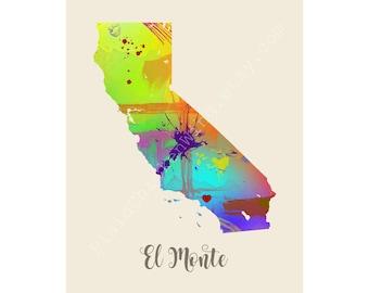 El Monte California El Monte Map El Monte Print El Monte Poster El Monte Art El Monte Gift El Monte Wall Decor