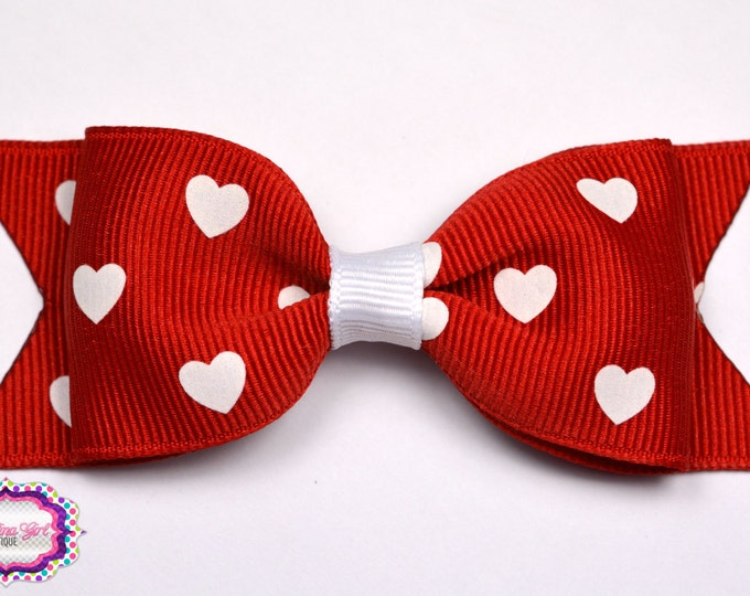 "Red with White Hearts Bow  ~ 3.5"" Bow ~ No Slip ~ Small HairBow ~ Girls Barrette ~ Toddler Bow ~ Baby Hair Bow ~ Hair Clip ~ Girls Hair Bow"