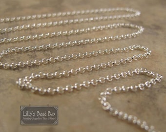 Sterling Silver Rolo Chain, By The Foot, .925 Silver Chain for Making Jewelry, Everyday Necklace Chain, 1.6mm Links (970i-s)