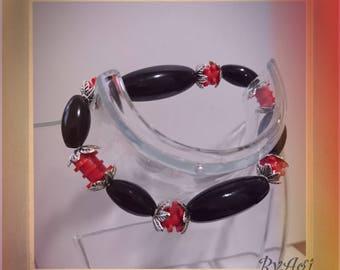 Red Lego Bricks & Black Beads Bracelet.