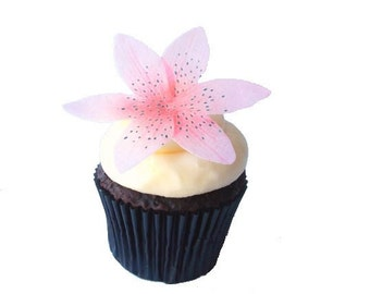 EDIBLE FLOWERS - Cake Decorations, Tiger Lily, Cupcake Toppers - Wafer Paper Flower for Cupcakes
