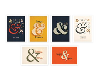 Assorted Boxed Set - Ampersand Cards - Greeting Card Set - Greeting Cards - Box Set - Love Cards - Typographic Cards