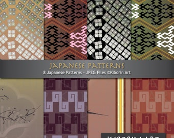 8 Japanese Patterns and Designs - Digital Papers