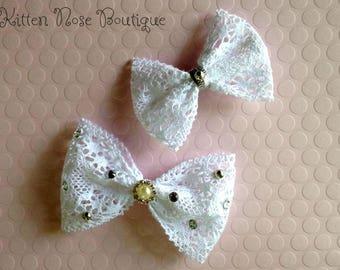Lace Hair Bows,White Lace,Hair Bows,Boutique Bows,Fashion,Hair,Hair Accessories,Girls Hair Bows,Pretty,Teen Bows,Handmade Bows,Photo Prop