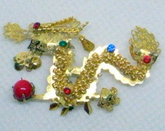 Golden Dragon Brooch - Multicolored Rhinestones - Dangles - Dragon Brooch - Dragon Pin