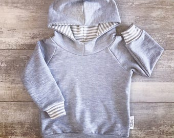 Hooded sweater for baby and child, light grey french Terry, bamboo and light grey and white, smooth striped cuffs