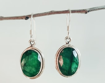 Emerald Earrings - Green Emerald Jewelry - May Birthstone Earrings - Sterling Silver Emerald Earrings - Emerald Drop Earrings
