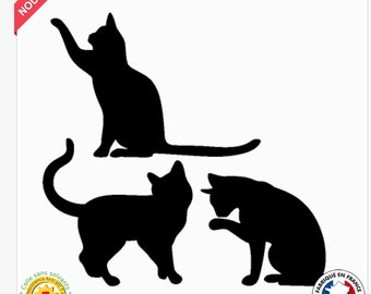 Decal 3 silhouettes cat size and color customizable
