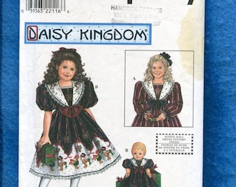 Simplicity 8367 Daisy Kingdom Dress for Little Girls & Matching Doll Dress Too Sizes 3 to 6 UNCUT