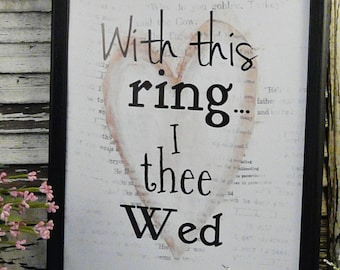 With this ring wedding sign digital pdf - white wed heart art words vintage style