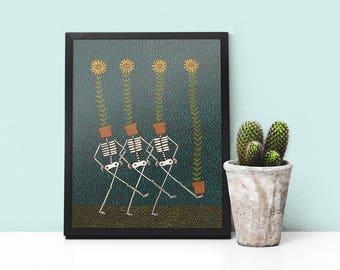 Art Print- Sunflower Skeletons