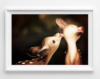 """Kissing Deer Photograph Unframed / fawn kiss love forest / brown pink black / whimsical bambi / nursery photography print /  """"Twitterpatted"""""""