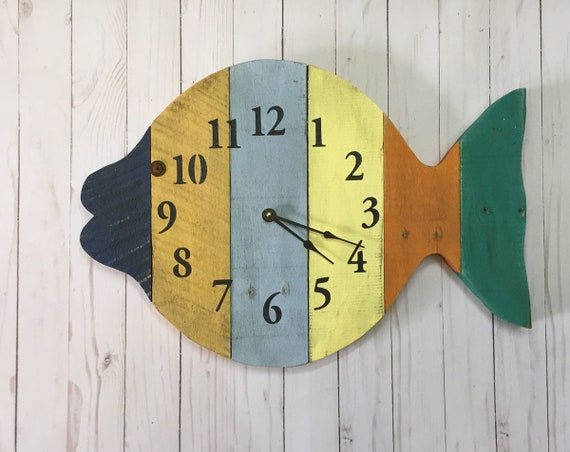 Painted Fish Beach Wall Clock 20 wide tropical wall