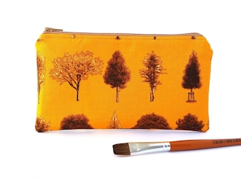 Tree lover zipper wallet Pencil pouch, Nature inspired travel gifts for women, Fully lined, Zip up, Autumn colors Brown Orange