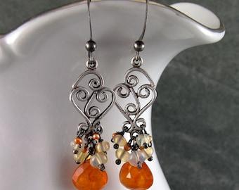 Mandarin garnet chandelier earrings w/ Ethiopian welo opal & peach pearls, handmade sterling silver earrings-OOAK
