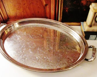 Gorham Heritage Butler Tray, Vintage Large Silver Plate Tray, Bar Tray, Oval Silver Tray, Vintage Wedding Silver Tray
