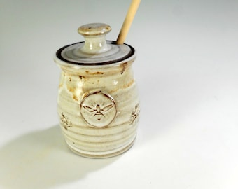 Ceramic honey dipper pot, pottery honey jar, stoneware honey jar with dipper stick, pottery honeypot, ceramic honey pot with bee