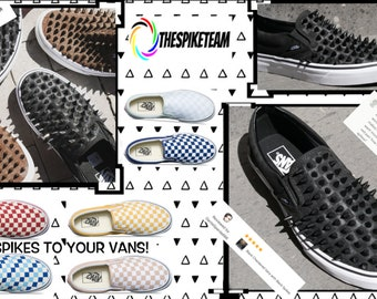 """Exclusive Online Custom Vans"""" SPIKED VANS."""" Handmade, only company in the world that adds spikes to your VANS!"""