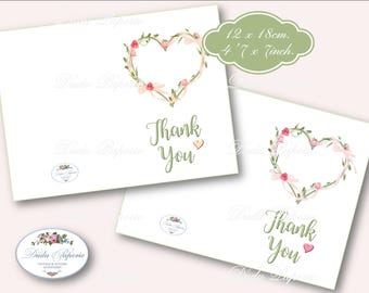 THANK YOU PRINTABLE Card- Floral - Print, Cut and Fold - Floral Card - Instant Download - Digital Print