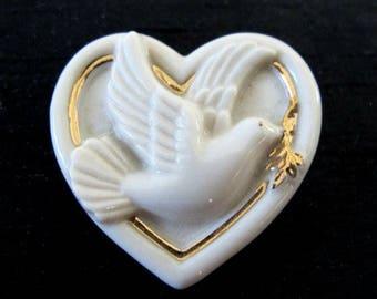 "Lenox China ""Peaceful Heart"" Brooch Pin"
