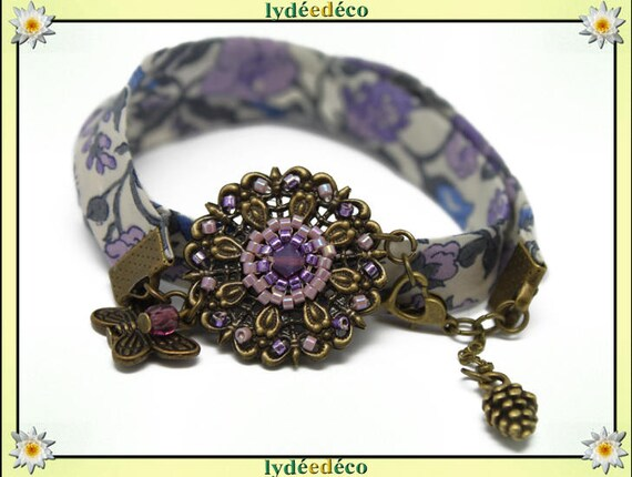 Retro flower woven beads Japanese lilac purple white green bronze fabric liberty floral print Butterfly brass