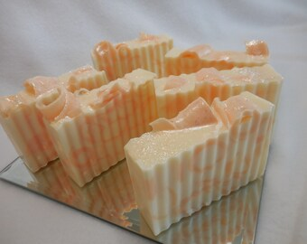 Fresh Cut Peaches SOAP LOAF - Peach Soap - Handmade Soap - Glycerin Fruity Soap - Olive Oil Guest Soap - Shea Butter Soap - Bulk Soap
