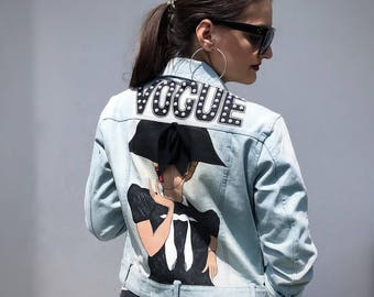 Hand painted denim jacket Vogue