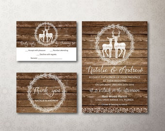 Deer Wedding Invitation Suite Rustic Wedding Invitation Deer - Wedding invitation templates: winter wedding invitation templates free