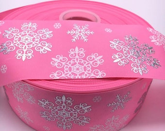 "Christmas Snowflake white silver pink 3"" 75mm 3 Inch Width Grosgrain Ribbon"
