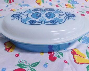 Mid Century Pyrex Divided Casserole Dish - Vintage Horizon Blue Hot Dish - 1969 - Boho Style Folk Art Cover