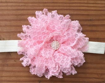 Pink and Pearls Girls Headband