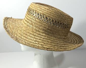 Vintage Dorfman Pacific Straw Gamblers Hat - Wide Brim Natural Raffia Summer Sun Hat - Men's Size L
