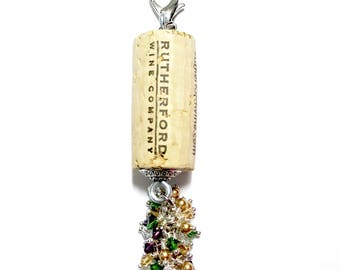 Mardi Grenache color-burst cork floating keychain with Swarovski crystals