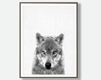 Wolf Printable, Black and White Art, Wolf Poster, Instant Download Wolf, Wolf Decor, Teenagers Room, Dorm Printable, Wolf Art
