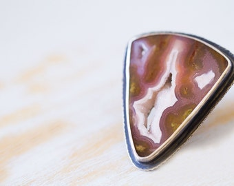 Agua Nueva Agate Ring, Sterling Silver Statement Ring, Drusy Ring - Collector Stone - Muse and Reverie - Size 7, Size 7.25