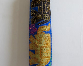 Yoga Mat Bag Pilates Mat Bag handmade Indian black & yellow Elephants blue bag ,Sequins free UK delivery (b32) Free gift choice