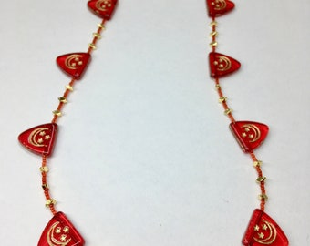 Red and Gold Moon and Stars Czech Glass Triangle Bead Necklace