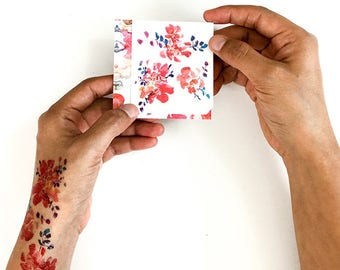 Temporary Tattoo Floral Temporary Tattoos Small Tattoo Set Floral Watercolor Tattoo Gift for her under 10 Fake Floral Tattoo CreativeIngrid