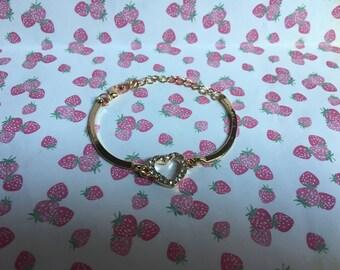 Gold Tone Diamante Love Heart Ladies Bangle Bracelet | Jewellery