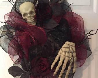 Black and Burgundy Halloween Skull Wreath