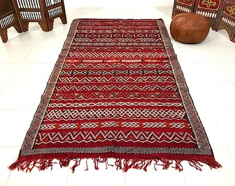 Large Vintage Moroccan red kilim 5x10