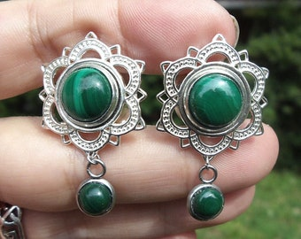 Genuine Natural Malachite Dangle Lotus Plugs Tunnels 12mm or 1/2 inch