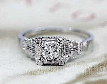 Art Deco Diamond Ring, Antique Engagement Ring, 18k White Gold, Vintage Anniversary Ring, 1930s Filigree Conflict Free Diamond Ring