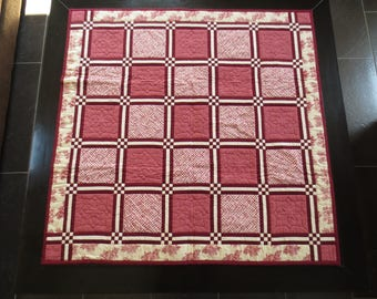 Patchwork tone old pink, Burgundy and cream pattern Holly