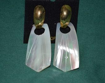 Beautiful Vintage Mother of Pearl Carved Door-Knocker Earrings (1017154)