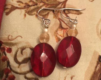 Red oval earrings.red,tan,white,miracle bead earrings,vintage beads,Valentine's day,holiday,gift for her,one of a kind,flat faceted ovals
